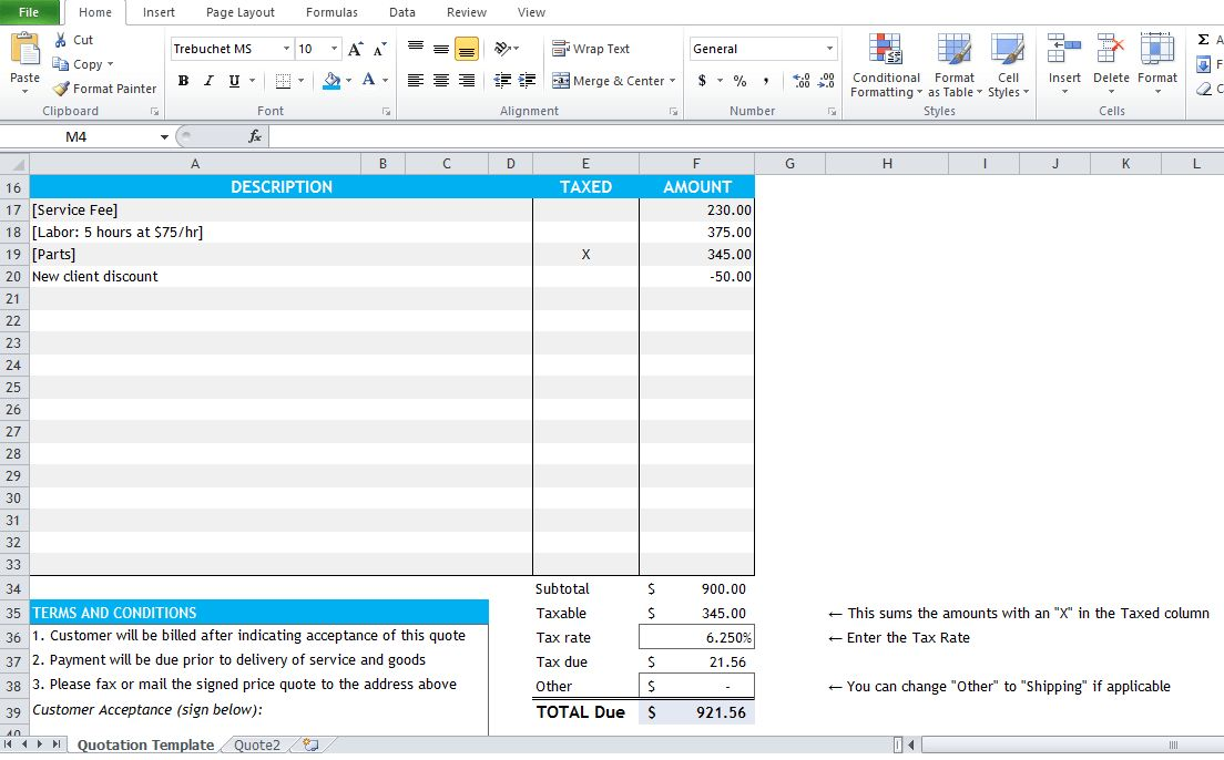 Quotation Excel Template Free Download - Excel Tmp