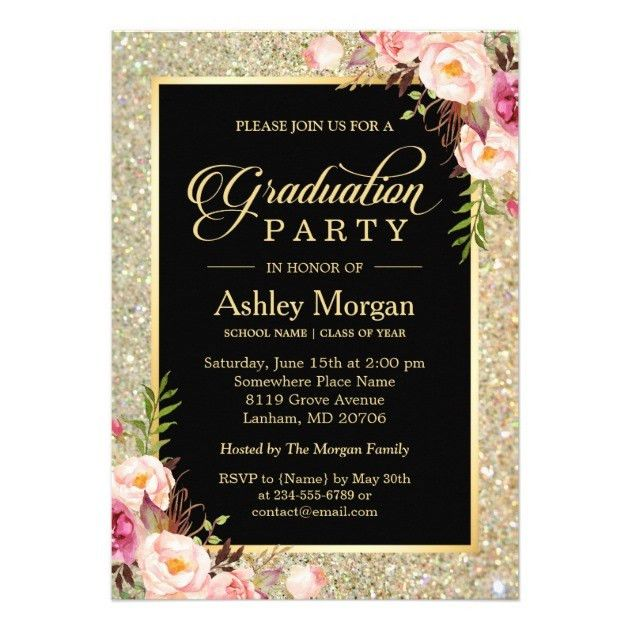 Personalized Glitter Graduation Invitations | CustomInvitations4U.com