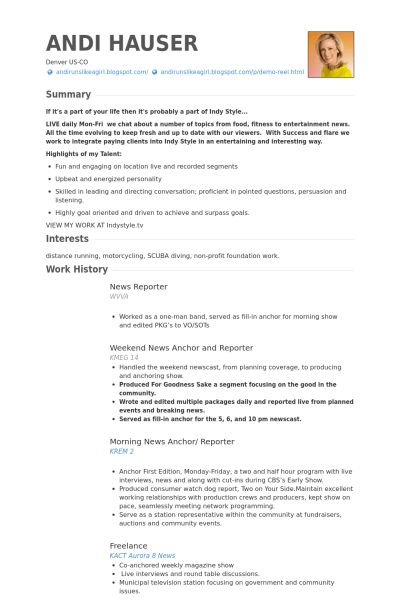 Reporter Resume samples - VisualCV resume samples database