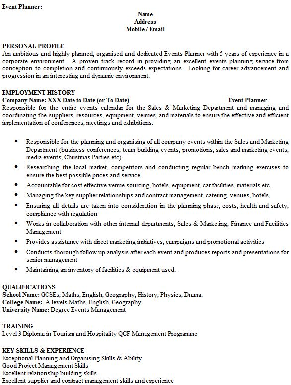 Event Planner CV Example - icover.org.uk