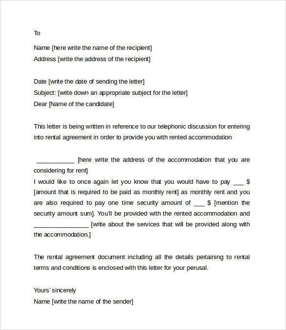 Sample Rental Agreement Letter Template - 7+ Free Documents in ...