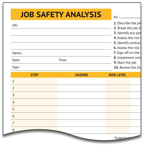 Job Safety Analysis Form - Lockbox Safety Documentation
