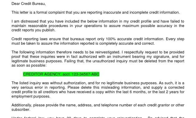 Credit inquiry letter