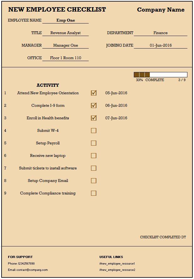 New Employee Checklist - Free Excel Template   INDZARA