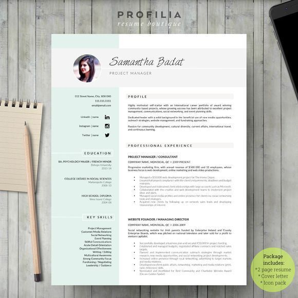 Word Resume & Cover letter Template by Profilia Resume… #resume ...