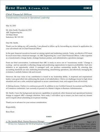 Sample Cover Letter for Chief Financial Officer - Sharon Graham