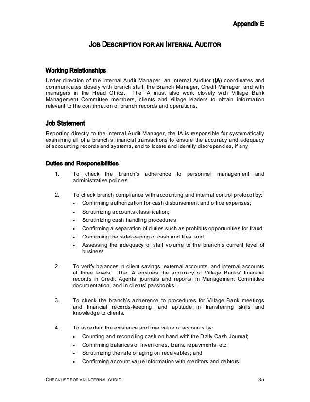 Checklist internal audit