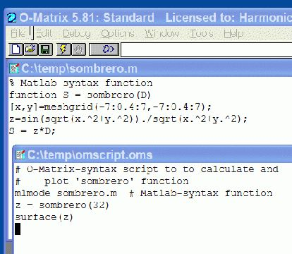 Using Matlab code with O-Matrix