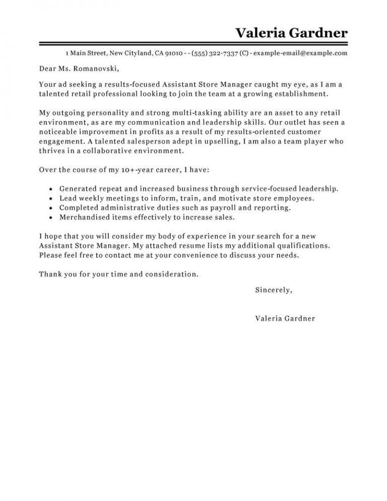 Nice Looking Retail Manager Cover Letter 3 Leading Professional ...