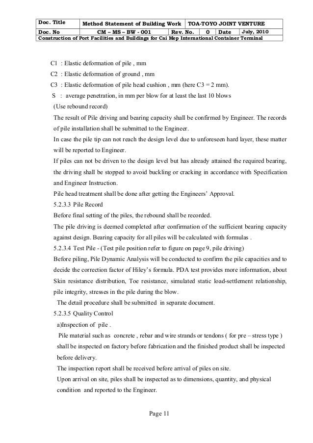 Building work method statement cm - ms- bw - 001