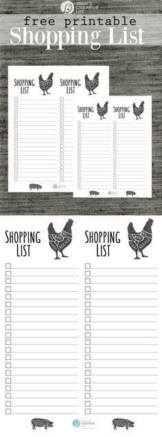 Free Printable Grocery Shopping List | Shopping lists, Free ...