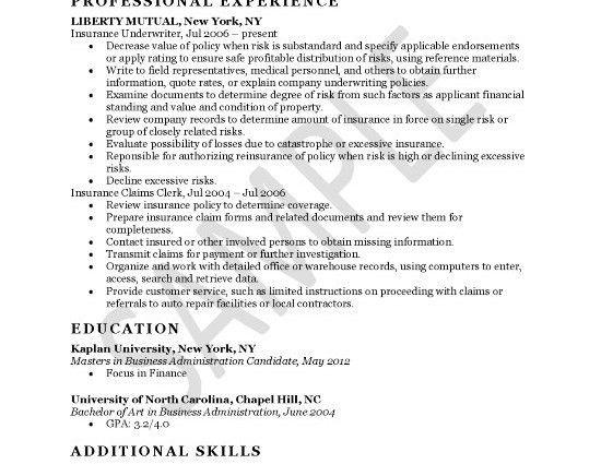 commercial insurance underwriter resume. insurance underwriter ...