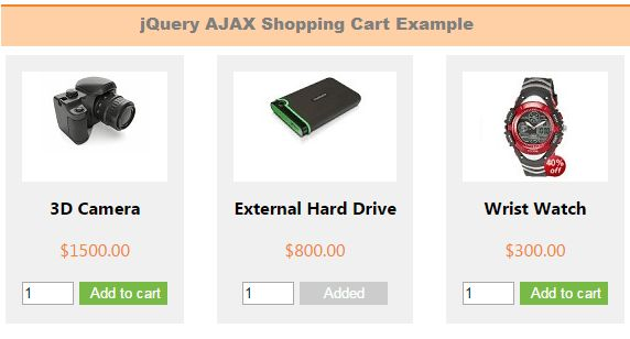 PHP Shopping Cart with jQuery AJAX