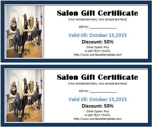 MS Word Salon Gift Certificate Template | Word & Excel Templates