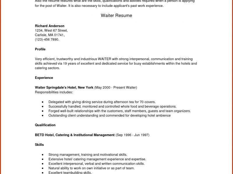 Pleasant Idea Sample Server Resume 15 SERVER RESUME SAMPLESSample ...