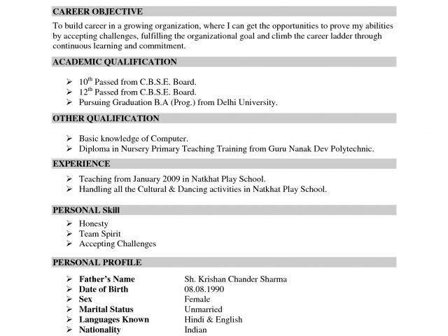 Resume Format Teachers India Doc - Augustais
