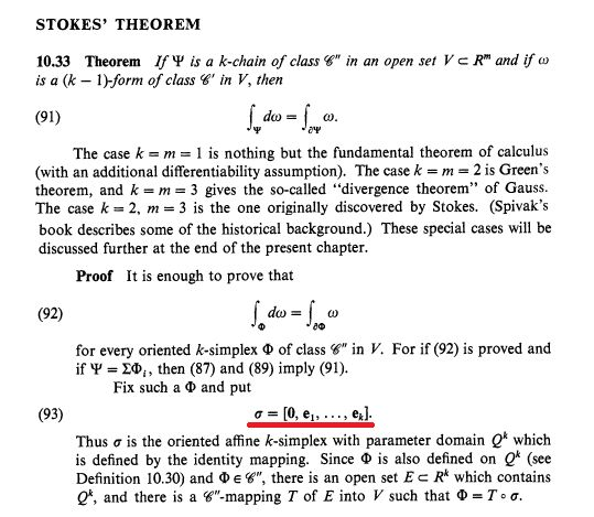 real analysis - Stokes' Theorem from PMA Rudin. Confusing moment ...