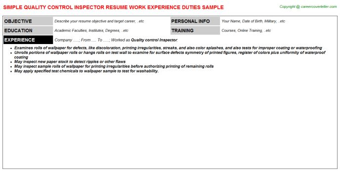 Quality Control Inspector Cover Letter