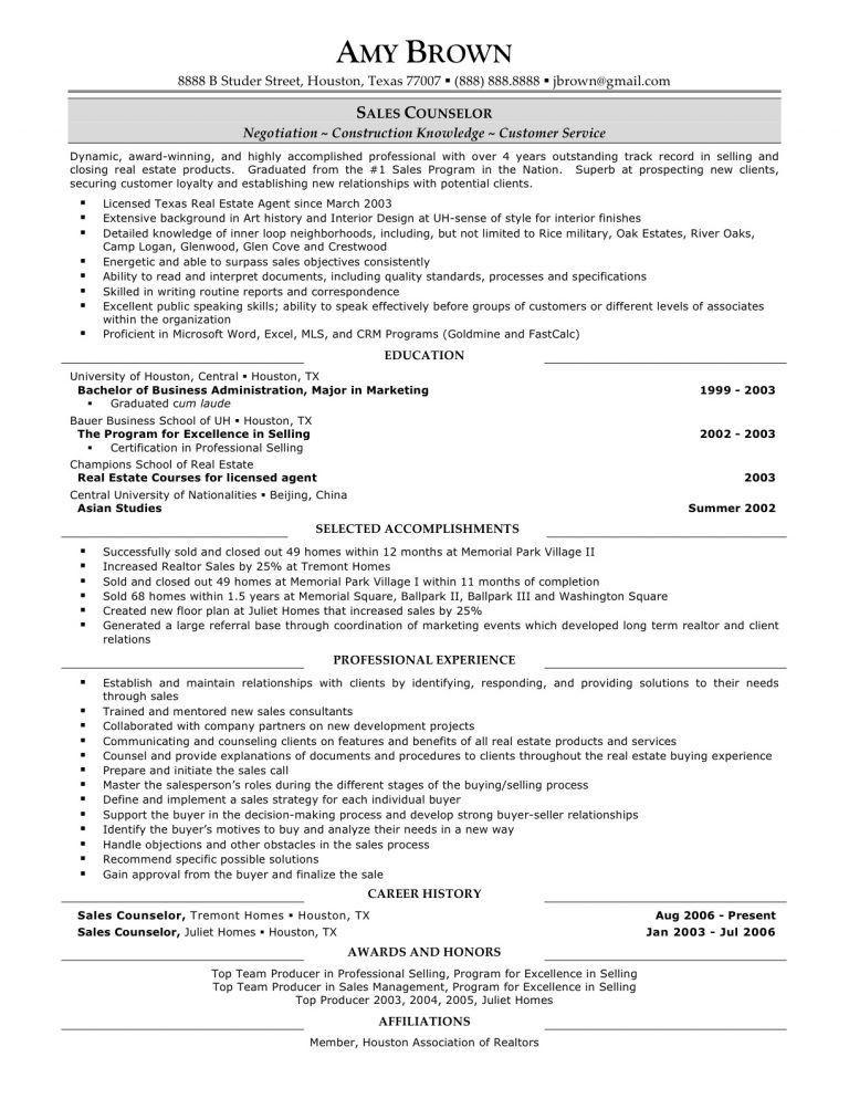 sample real estate agent resume