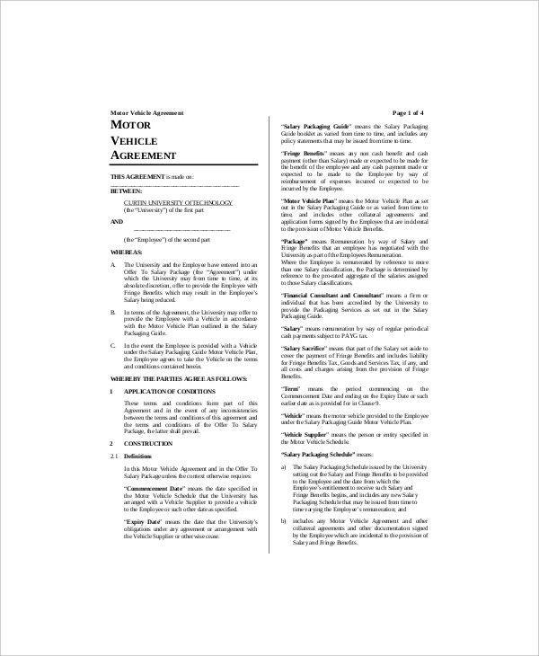 8+ Vehicle Lease Templates - Free Sample, Example, Format   Free ...