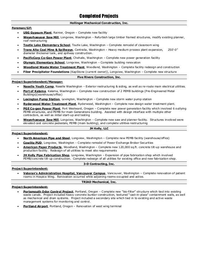 Construction Superintendent Resume | Haadyaooverbayresort.com