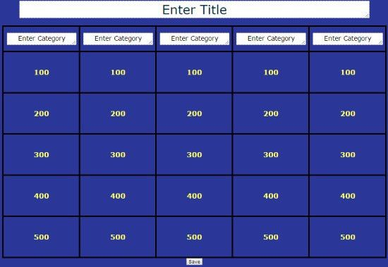 Create Jeopardy! Game Template without Powerpoint: JeopardyLabs