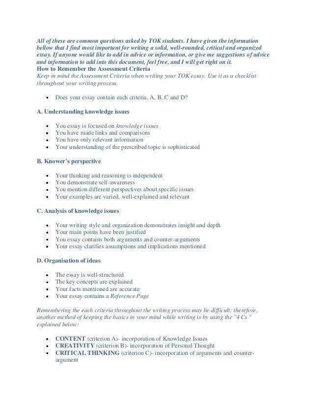 Ib tok essay assignment help writing guidance new titles nov 2013