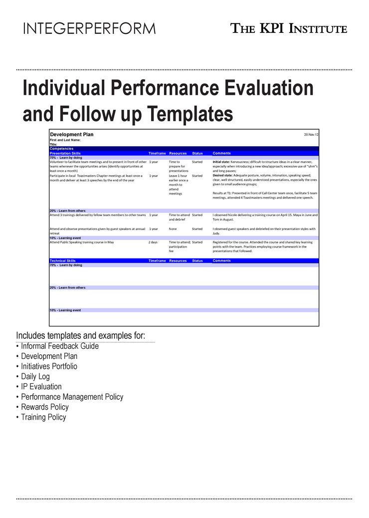 Individual Performance Evaluation and Follow up Templates ...