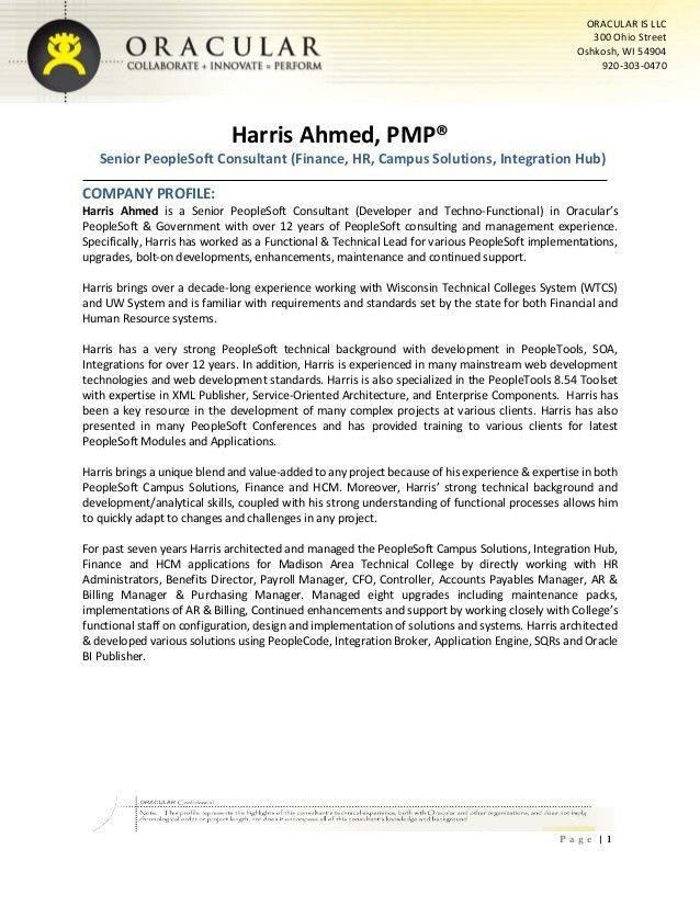 Harris Ahmed - Senior PeopleSoft Consultant
