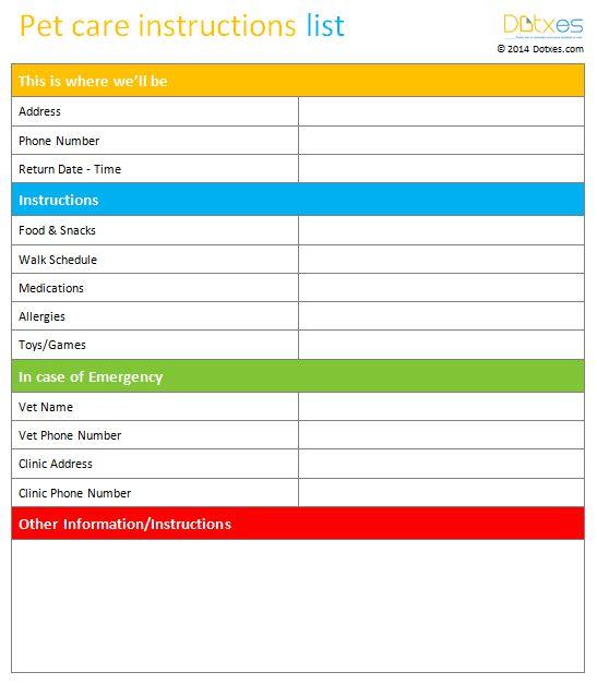 Pet care instructions list template - Dotxes