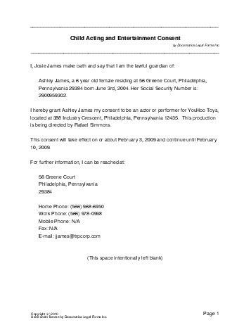 Free Child Acting Consent (Canada) - Legal Templates - Contracts ...