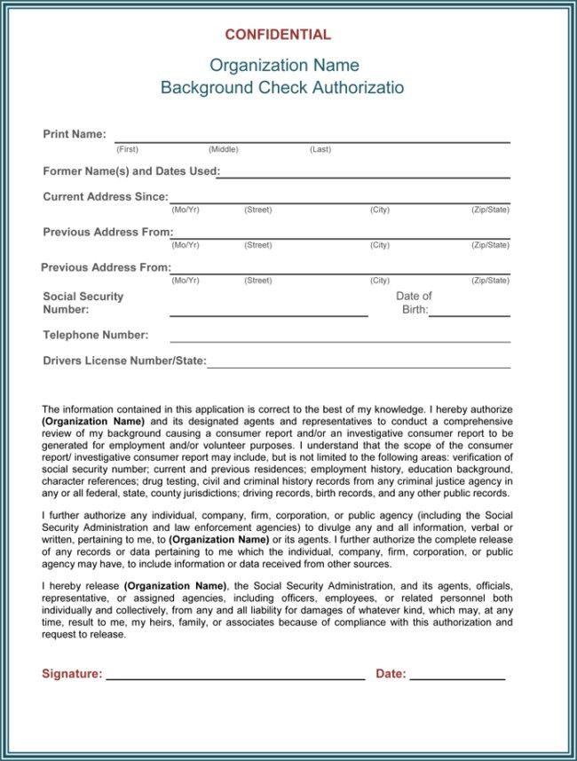 Background Check Authorization Form Template | rubybursa.com
