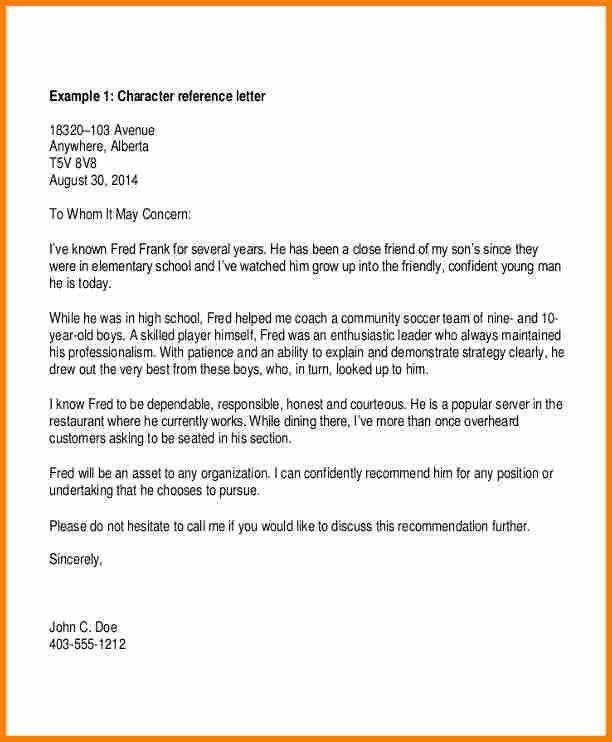 Character Reference Letter Sample | Jobs.billybullock.us