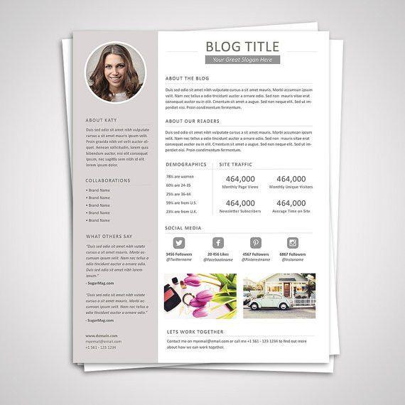 Blog Media Kit Template 04 Press Kit Pitch Kit Word Blog