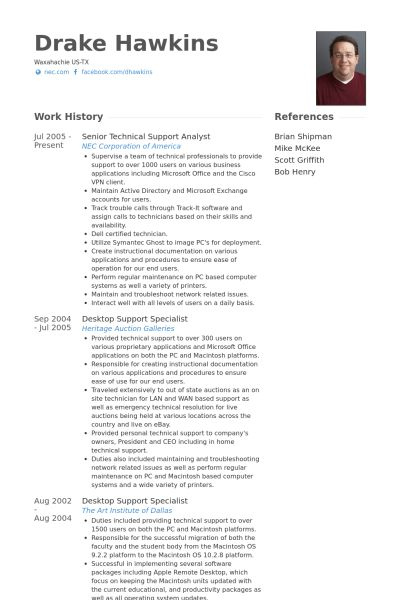 Technical Support Analyst Resume samples - VisualCV resume samples ...