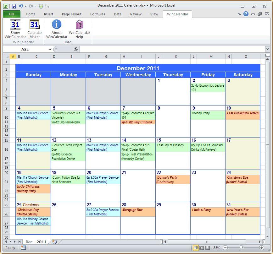 5+ microsoft excel calendar template | Outline Templates