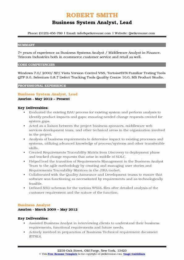 business systems analyst sample resume business systems analyst