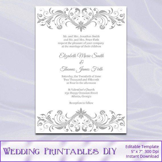 Gray Wedding Invitation Template Diy Printable Silver Bridal