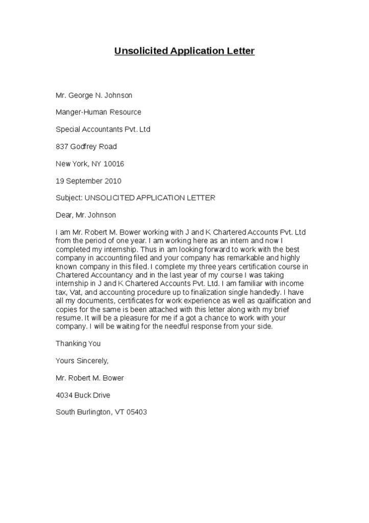 Letter Of Application Letter Of Application Unsolicited in ...