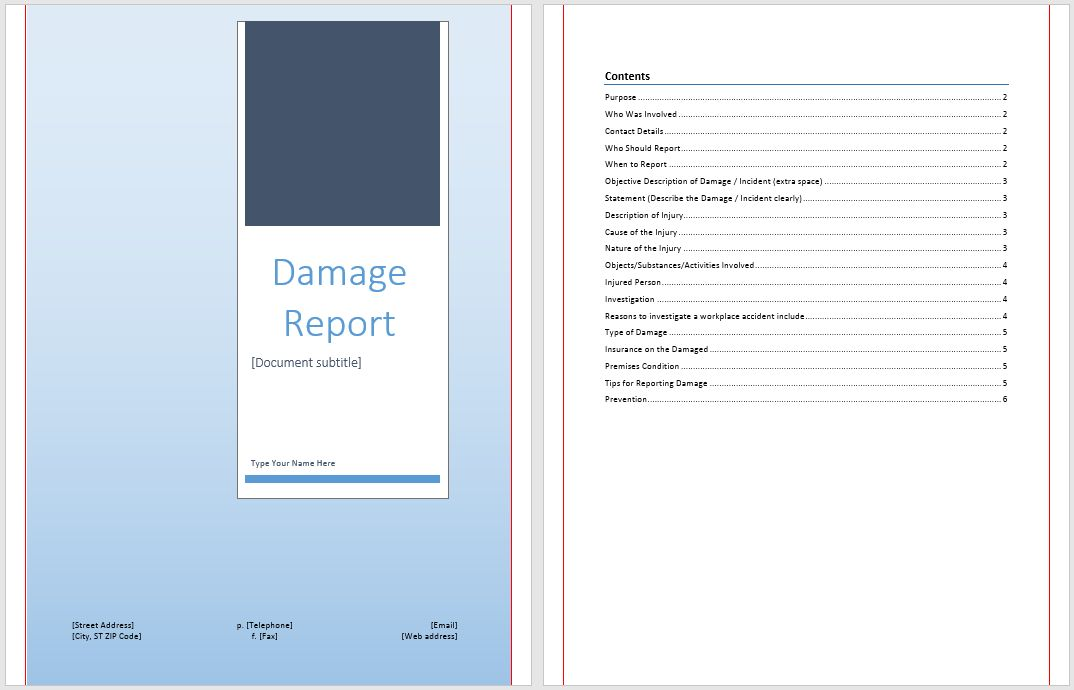 Damage Report Template | Microsoft Word Templates