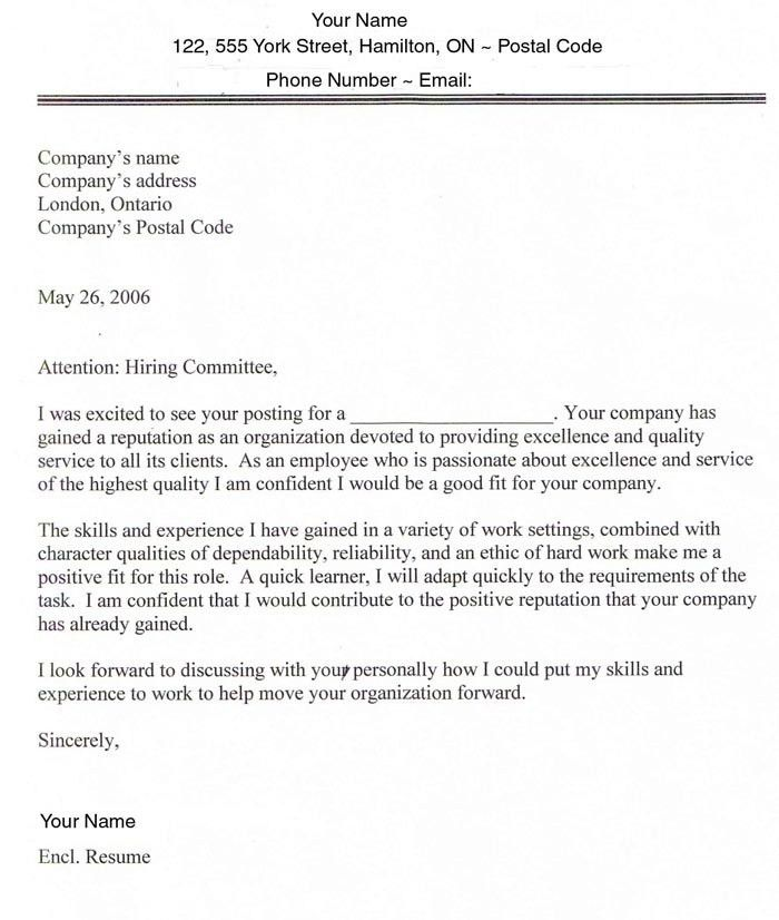 Sample Cover Letter Canada | The Best Letter Sample