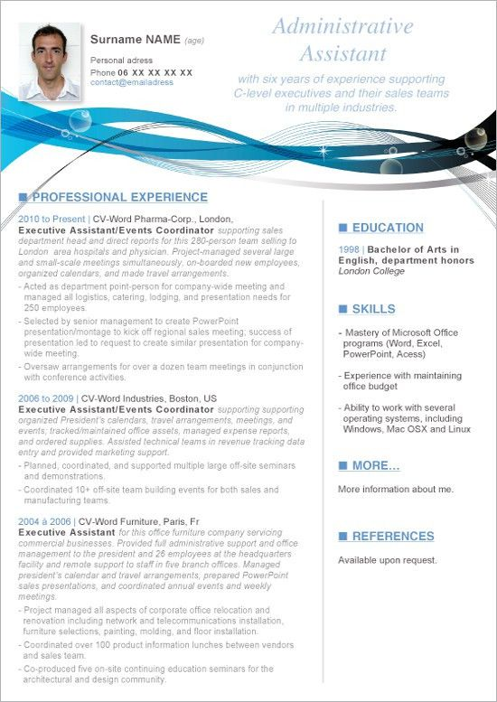 Resume Templates On Word. Professional Modern Ms Office Word ...