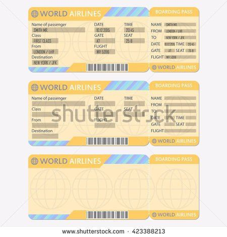Airline Boarding Pass Ticket Detailed Blank Stock Illustration ...