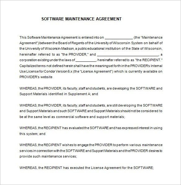 Maintenance Contract Template. Maintenance Contract Sample Sample ...