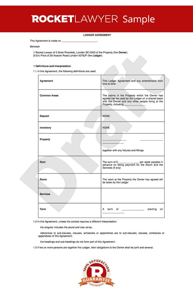 Agreement - Excluded Tenancy Agreement - Room rental agreement