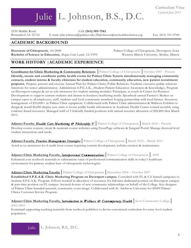 28 curriculum vitae chiropractic chiropractic medical - Chiropractic Resume