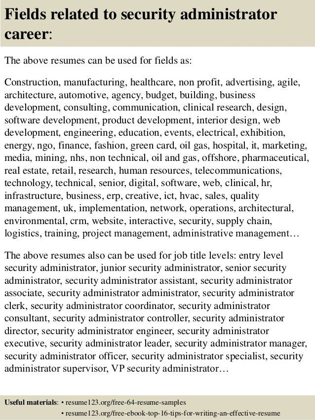 Top 8 security administrator resume samples