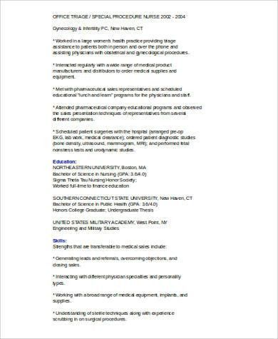 Sample Medical Sales Resume   8+ Examples In Word, PDF