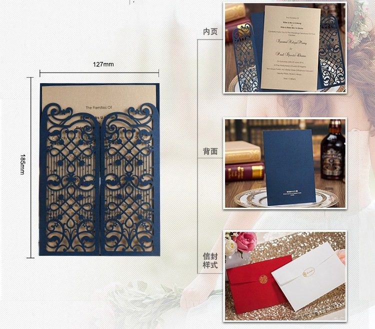 Aliexpress.com : Buy Elegant Dark Blue Wedding Invitation Cards ...