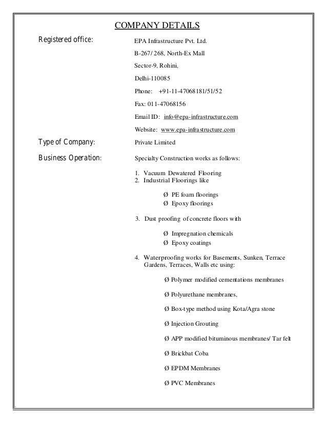 Doc600730 Company Business Profile Sample Sample Company – Company Business Profile Sample